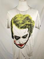DC Comics Dark Knight Joker T Shirt White with Joker Image Mens Size Large