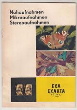 Werbe Broschure Exa Exakta Varex Nahaufnahmen Mikroaufnahmen Stereoaufnahmen (P1