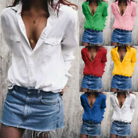 Women Solid Long Sleeve Turn Down Collar Pockets Button Front Shirt Tops Blouse