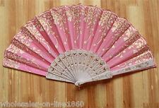 Pink Wedding Party Lace Brocade Folding Hand Held Fan Flower