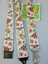 Sloth pattern lanyard safety clip ID badge holder handmade student gift B