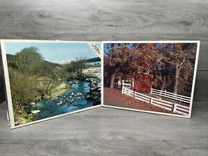 2 Vintage Whitman 1200 Pcs Puzzles (River Dart,Dartmoor,England - Dunnerston,VT)