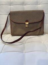 Vintage GUCCI Monogram Canvas & Leather Handbag Shoulder Bag Briefcase