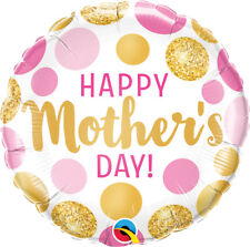 """MOTHER'S DAY PARTY SUPPLIES 18"""" HAPPY MOTHER'S DAY PINK & GOLD DOTS BALLOON"""