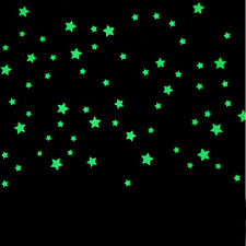 100PC Kids Bedroom Beautiful Fluorescent Glow In The Dark Stars Wall Stickers kk