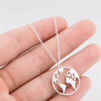 World Map Pendant Necklace Round Hollow Chain Collar Women Jewelry Gifts FM