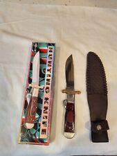 "Vintage Hunting Knife 10"" Stainless Steel Blade Leather Sheath Pakistan Case EUC"