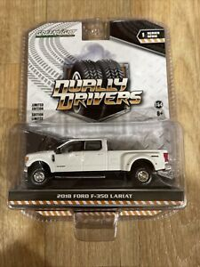 Greenlight Dually Drivers 2018 Ford F-350 Lariat White Pickup  New