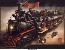 Raccoon Express Chinese Steampunk Print by James Ng