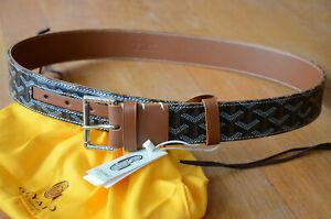 GOYARD Monogram BROWN Leather Belt SILVER Buckle sz 95 / 38 fits 32-34 Monogram