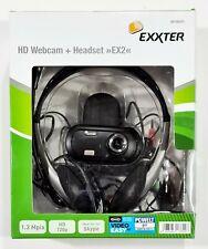EXXTER EX2 Headset + USB HD Webcam Kamera Skype/Zoom/GoToWebinar/Meetings/Chat