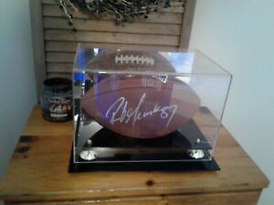 Rob Gronkowski autographed football in display case with COA