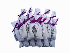 10 Sacs en coton Motif lavande fleurs Satin Blanc, serrage - Vide brodé 14...