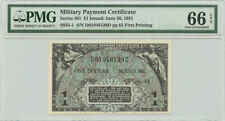Military Payment Certificate Series 481 $1 Issued June 20 1951 Pmg Gem Unc 66Epq