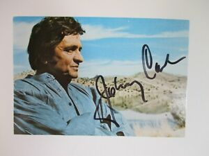 """SIGNED by JOHNNY CASH 6x4"""" Postcard AUTOGRAPHED (Picture by June Carter) Music"""