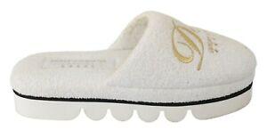 DOLCE & GABBANA Shoes White Cotton Slippers Flats Luxury Hotel EU37 / US6.5 $300