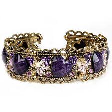 Womens Lady Fashion Beautify Rhinestone Gold-plated Purple Heart Retro Bracelet