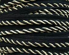 Black Narrow Metallic Gold Trim. Upholstery Ribbon, Trimming from India. 10 Yard