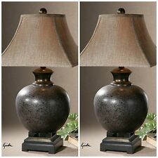 """TWO 29"""" RICH RUST BROWN GLAZE BLACK  ACCENTS TABLE LAMP LINEN SHADE TUSCAN LIGHT"""