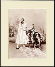 LARGE MUNSTERLANDER AND LITTLE GIRL CHARMING DOG PRINT MOUNTED READY TO FRAME