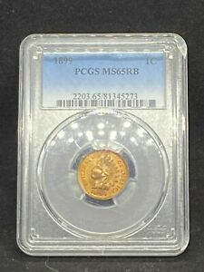 1899 Indian Head Cent Penny PCGS MS 65 RB RED/BROWN Mint State Certified