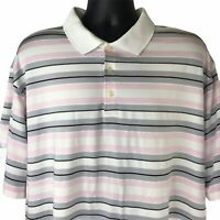 Nike Golf Dri-Fit Men's Polo Shirt Size XXL Pink Gray White Stripe Short Sleeve