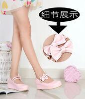 Fashion Womens lolita Pumps Sweet Wedge Heel Mary Janes Bowknot Platform Shoes