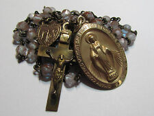 † c1800s SCARCE ANTIQUE SAPHIRET W/ REAL GOLD ROSARY & 1/20 GF STERLING MEDAL †