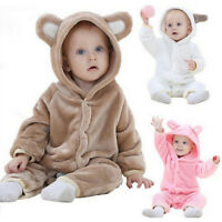 Baby Hooded Romper Flannel Bear Shape Babygrows Climbing Suits 0-24Months