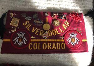 Vtg VFW Post 2461 Silver Dollar Denver Colorado Hat Tassels Pins Burgundy