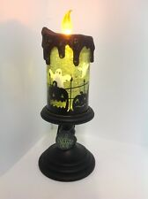 Halloween Lighted Candle Snow Globe with Swirling Glitter & Ghosts On/Off Switch