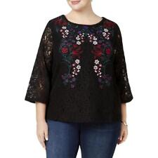 Charter Club Womens Black Embroidered Lace Blouse Top Plus 1X BHFO 0859