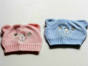 PREMATURE /   TINY BABY  BOY / GIRL KNITTED  HATS  WITH EARS & BEAR  FACE PRINT