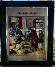 Fensterbild Bernhardt Der Zahn-Arzt Glasmalerei Bleiverglasung 27,5x22 cm 522 g