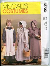 Girls Pioneer Dress, Pinafore & Sunbonnet Pattern - Size Small (7-8) -  Uncut