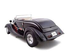 1934 FORD CUSTOM CONVT BLACK/W FLAMES 1:24 MODEL CAR BY UNIQUE REPLICAS 18541