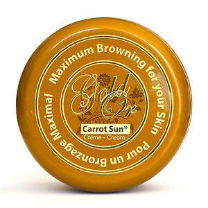 GOLD Carrot Sun Tan Accelerator Tanning Cream Lotion  L-Tyrosine, Almond Oil