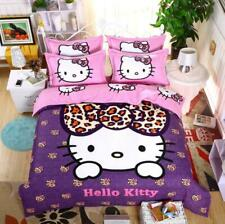 Leopard Bow Hello Kitty Kids Bedding Set Duvet Cover Bed Sheet twin full queen