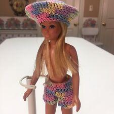 '70s MOD Barbie/Skipper/Clone Doll 2~OOAK~Hat & Shorts~Vibrant~Pastel Colors