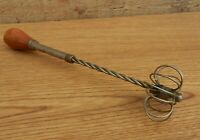 Vintage Unusual Push Down Egg Beater - Hand Mixer Wooden Knob Handle