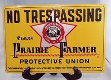 VINTAGE BARN/FARM NO TRESPASSING PRAIRIE FARMER UNION EMBOSSED TIN SIGN NMnt