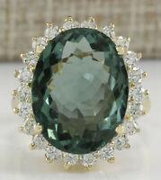 9.51 Carat Natural Tourmaline 14K Yellow Gold Diamond Ring