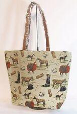 Equestrian Horse Large Sized Tapestry Hand Bag - Shoulder Bag Signare