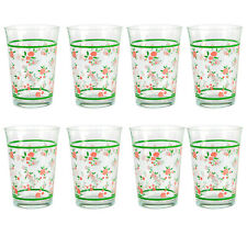 Set Of 8 Pasabahce Floral 290ml Drinking Water Clear Glass Beverages Juice Drink
