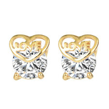 18K Gold Plated Women Cute Love Heart Crystal White Round CZ Stud Earrings Gift