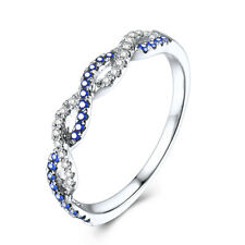 Sterling Silver Band 0.25ct Natural Diamonds & Sapphires Gemstones Vintage Ring