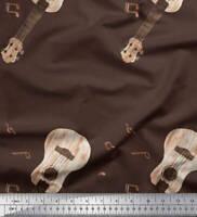 Soimoi Marron popelina de algodon Tela notas y la guitarra instrumento-ngx