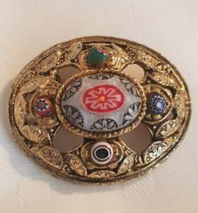 Moroccan large goldtone enamel brooch Pin