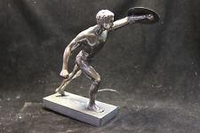 Alte Figur Zink Hohlguß 23cm Kämpfer mit Schild ohne Schwert 30er J bronziert
