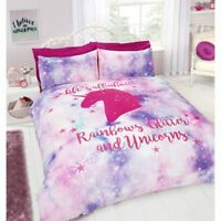 Unicorn Double Duvet Cover Glitter Rainbow Bed Pink Quilt Pillowcase Bedding Set